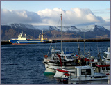 Reykjavík Harbour with Mount Esja in the background.