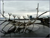 The sculpture of the Viking Ship by Faxaflói Bay in Reykjavík.